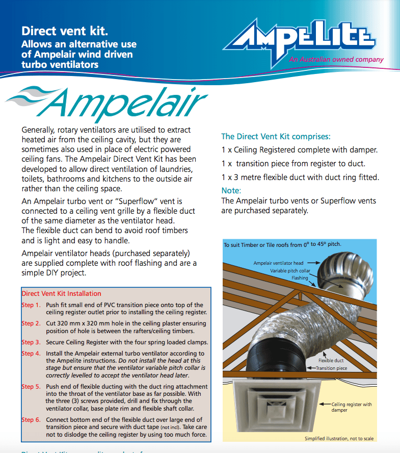 Ampelair direct vent kit Sydney