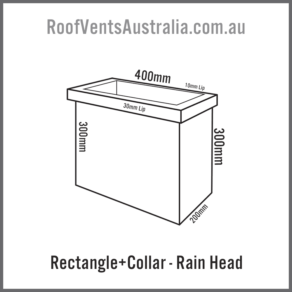 Rectangle with Collar Rainwater Head Colorbond Zincalume Melbourne Sydney Brisbane Darwin Perth Adelaide Hobart Australia 2