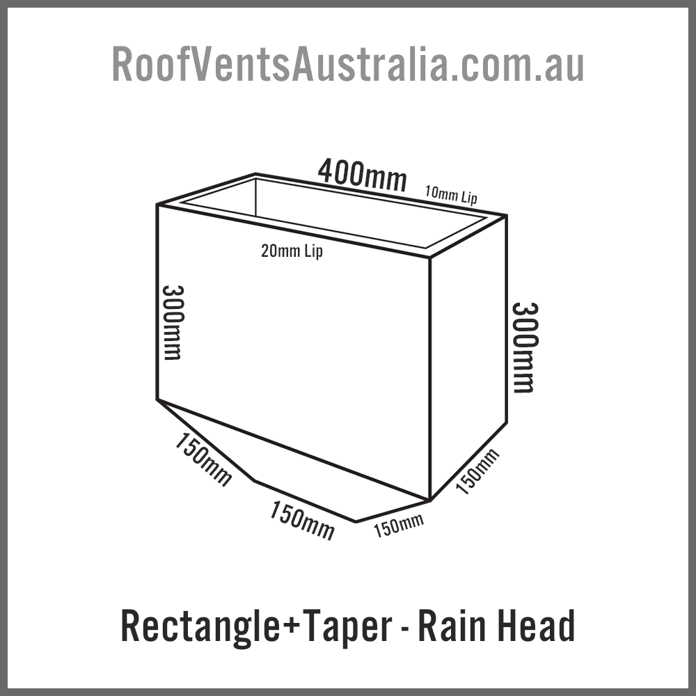 Rectangle Tapered Rainwater Head Colorbond Zincalume Melbourne Sydney Brisbane Darwin Perth Adelaide Hobart Australia 2