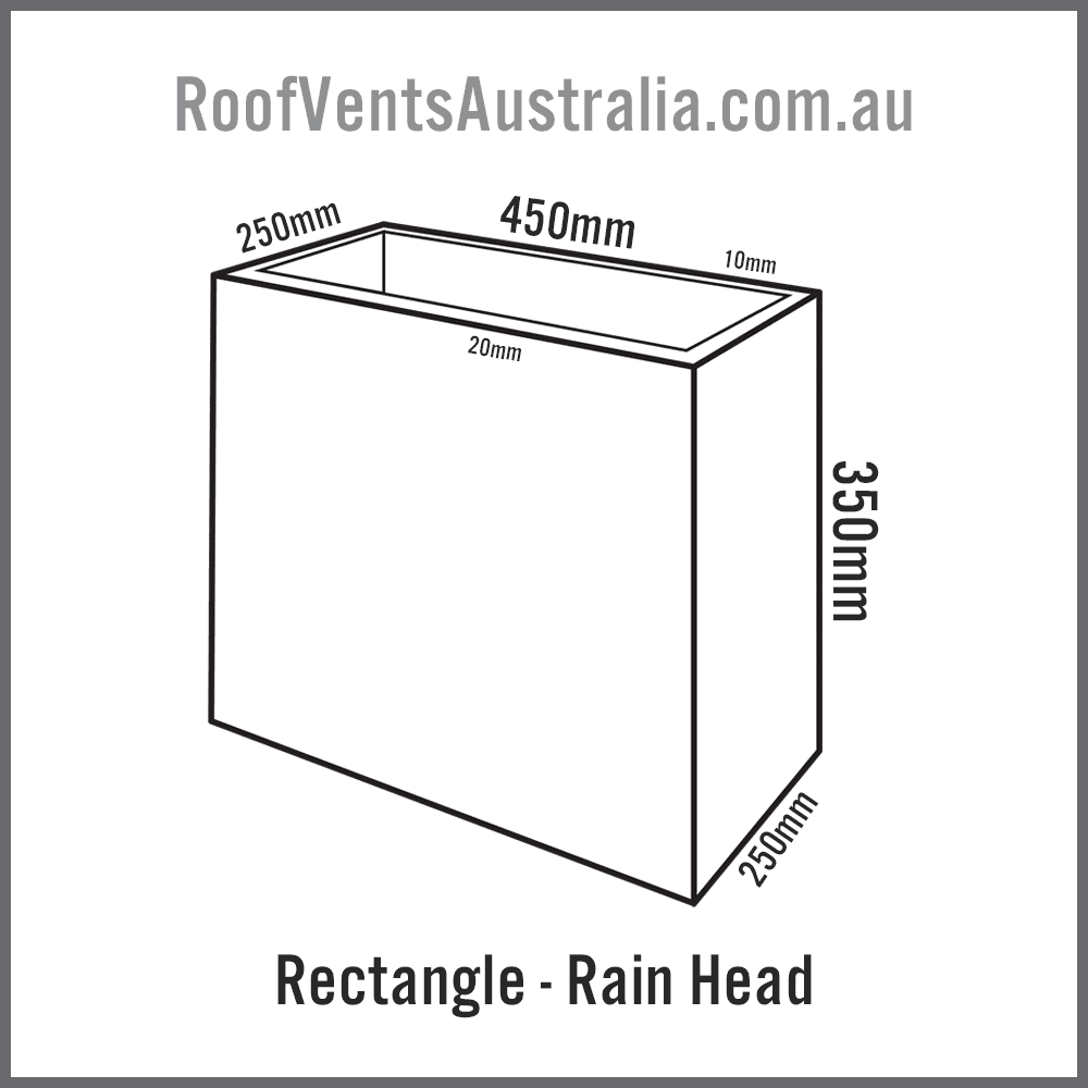 Rectangle Rainwater Head Colorbond Zincalume Melbourne Sydney Brisbane Darwin Perth Adelaide Hobart Australia 1