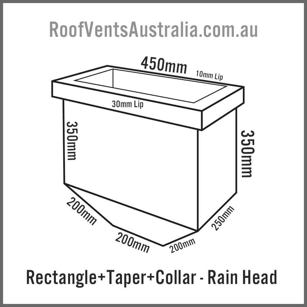 Rectangle Tapered with Collar Rainwater Head Colorbond Zincalume Melbourne Sydney Brisbane Darwin Perth Adelaide Hobart Australia 1