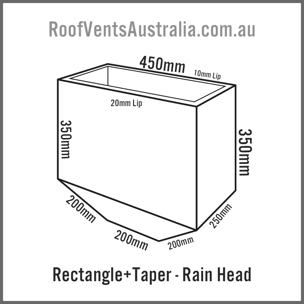 Rectangle Tapered Rainwater Head Colorbond Zincalume Melbourne Sydney Brisbane Darwin Perth Adelaide Hobart Australia 1