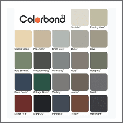 colorbond colours steel