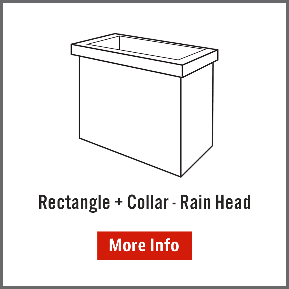 Rectangle rainwater head with collar Australia