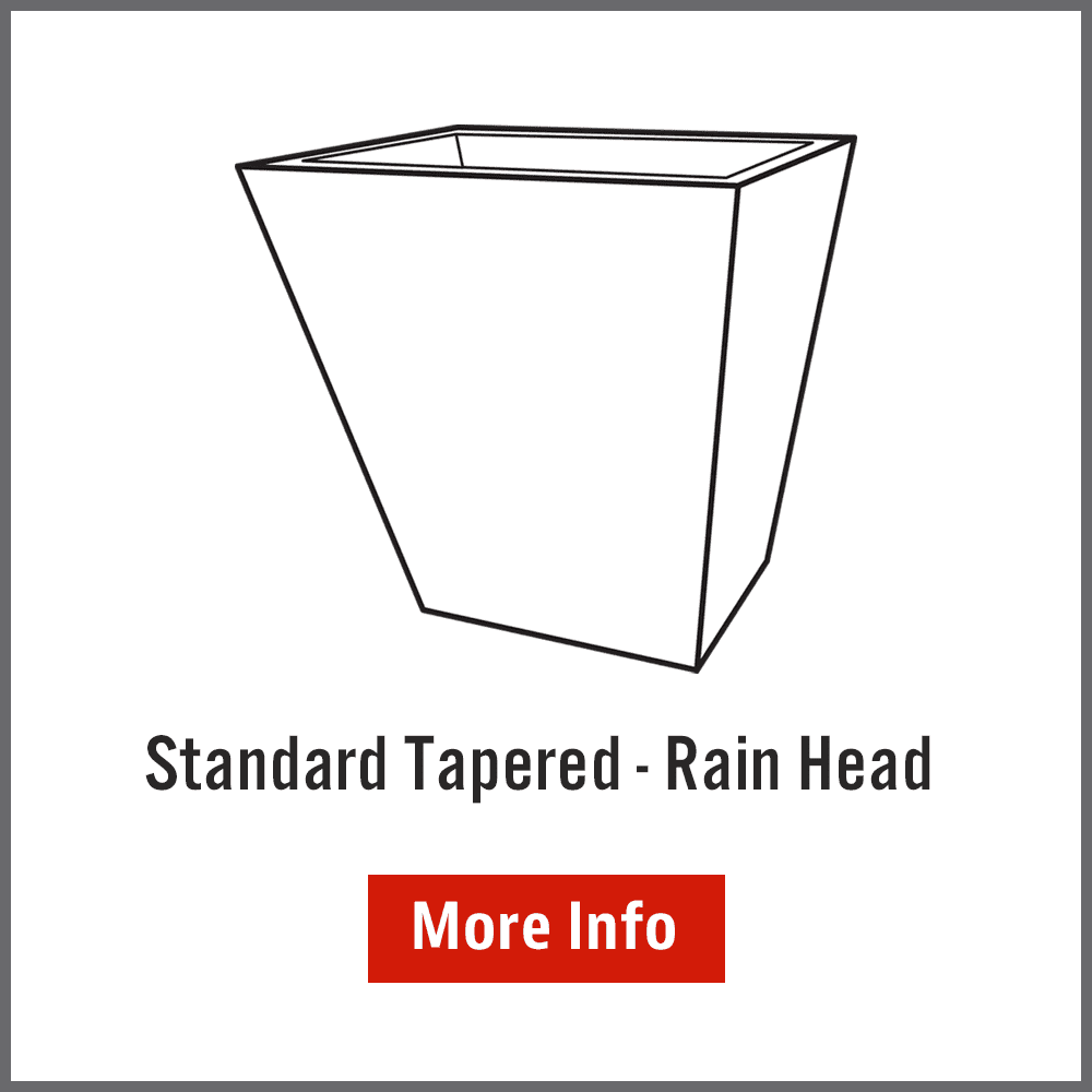 Tapered rainwater head size