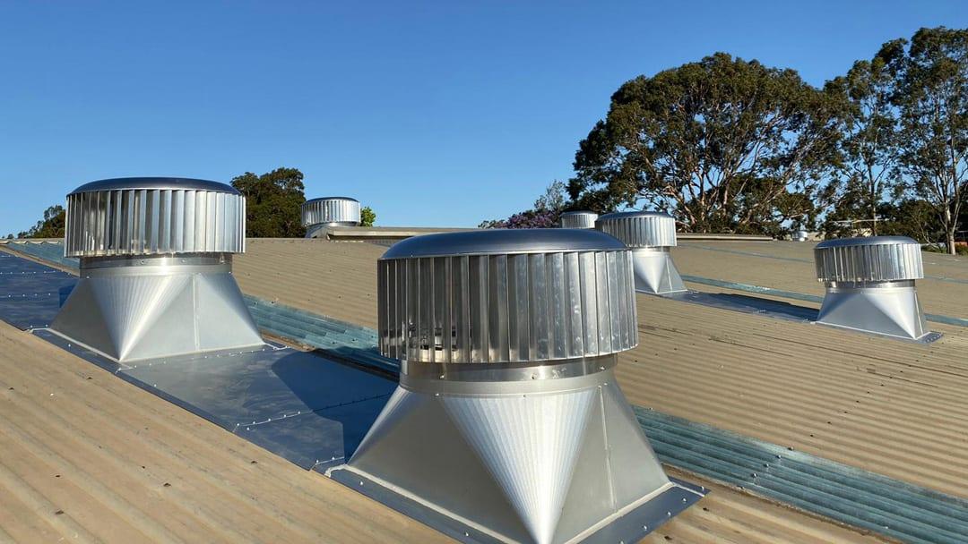 950mm Ampelite Roof Turbine Ventilators Installed on Warehouse Roof